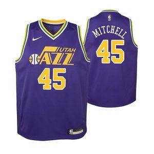 Youth Utah Jazz 45 Donovan Mitchell Jersey Purple